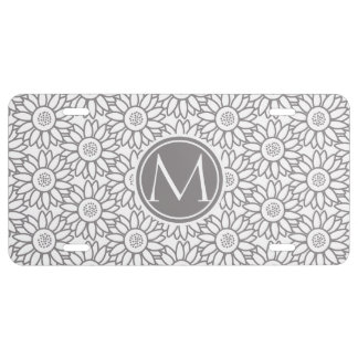 Elegant Sunflower Pattern Monogrammed License Plate