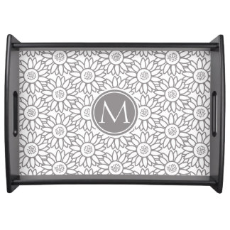 Elegant Sunflower Pattern Monogrammed Serving Tray