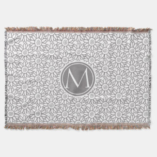 Elegant Sunflower Pattern Monogrammed Throw Blanket