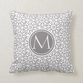 Elegant Sunflower Pattern Monogrammed Throw Pillow