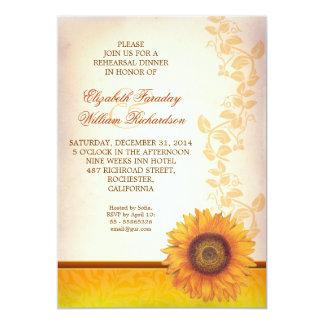 elegant sunflower rehearsal dinner invitation