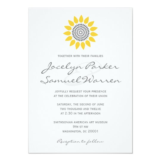 Elegant Sunflower Wedding Card