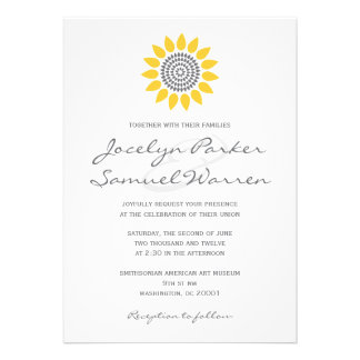 Elegant Sunflower Wedding Custom Invitations