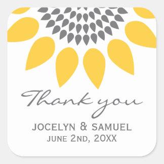 Elegant Sunflower Wedding Favor Square Sticker