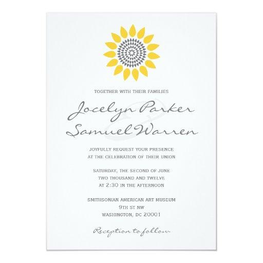 Elegant Sunflower Wedding 5x7 Paper Invitation Card
