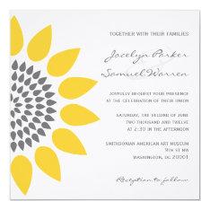 Elegant Sunflower Wedding 5.25x5.25 Square Paper Invitation Card at Zazzle