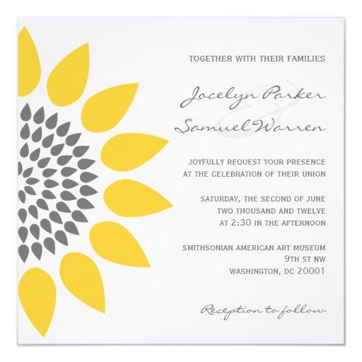 Elegant Sunflower Wedding 5.25x5.25 Square Paper Invitation Card
