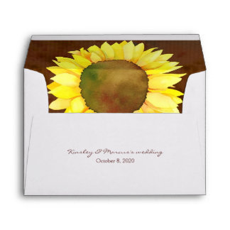 Elegant Sunflower Wedding Invitation A7 Envelopes