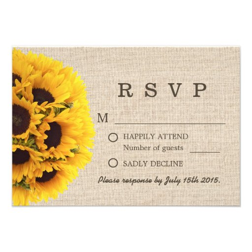 Elegant Sunflowers Burlap Wedding RSVP Custom Invitation