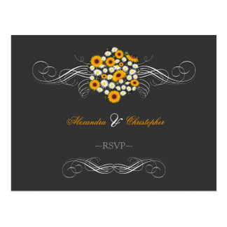 Elegant Sunflowers Daisies Bouquet RSVP Postcard