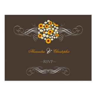 Elegant Sunflowers Daisies Bouquet RSVP Postcards