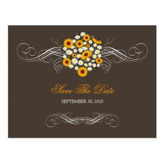 Elegant Sunflowers Daisies Bouquet Save the Date 2 Postcard