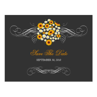 Elegant Sunflowers & Daisies Bouquet Save the Date Postcard
