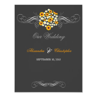 Elegant Sunflowers & Daisies Bouquet Wedding Card