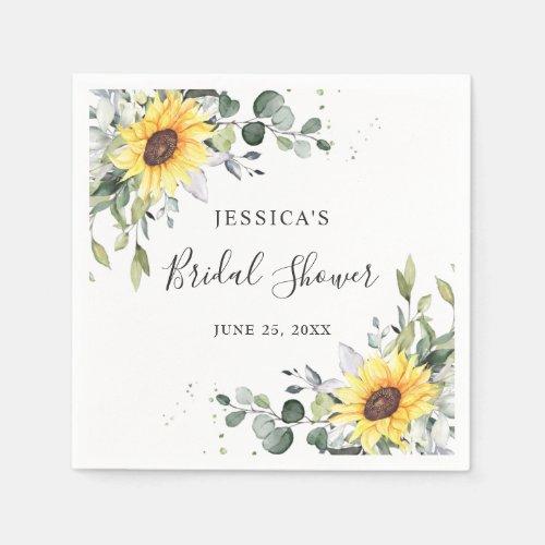 Elegant Sunflowers Eucalyptus Floral Bridal Shower Napkins