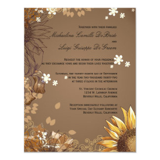 Elegant Sunflowers Formal Wedding Invite