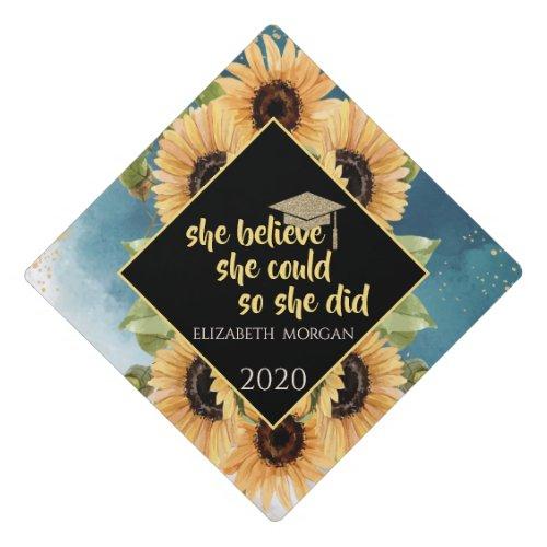 Elegant Sunflowers Glitter Graduate Cap