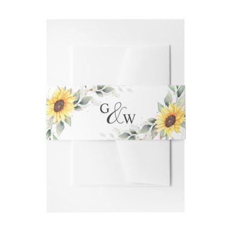 Elegant Sunflowers Watercolor Greenery Wedding Invitation Belly Band