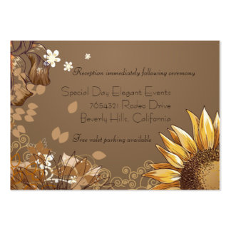 Elegant Sunflowers Wedding Reception Card Large Business Cards (Pack Of 100)
