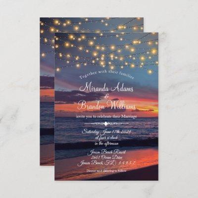 Elegant Sunset Beach String Lights Summer Wedding Invitation