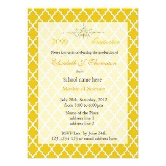 Elegant sunshine quatrefoil pattern graduation announcement