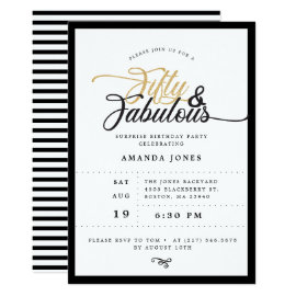 Elegant Surprise 50th Birthday Party Invitation
