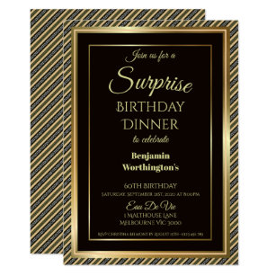 Dinner birthday invitations zazzle elegant surprise 60th birthday dinner invitation stopboris