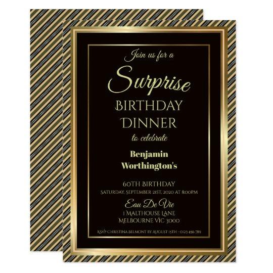 Elegant Surprise 60th Birthday Dinner Invitation