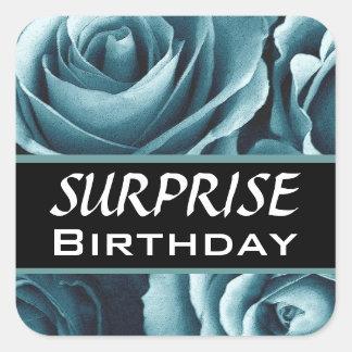 Elegant SURPRISE Birthday Blue Roses Square Sticker