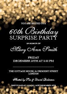 Surprise 60th birthday invitations zazzle elegant surprise birthday party gold lights invitation filmwisefo