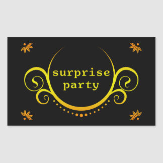 elegant surprise party invitation rectangle stickers