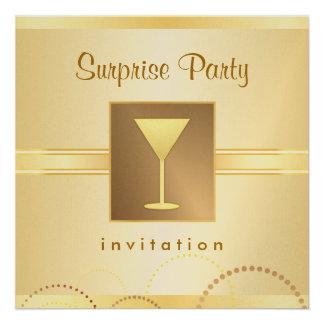 Elegant Surprise Party Invitations - Metallic Gold