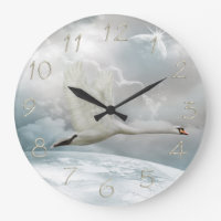 Elegant Swan in Flight Clock