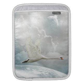 Elegant Swan in Flight iPad Sleeve