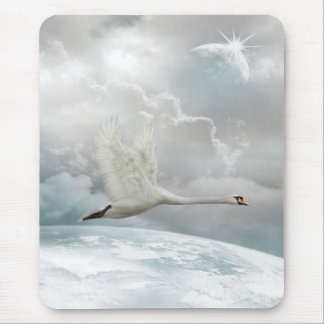 Elegant Swan in Flight Mousepad