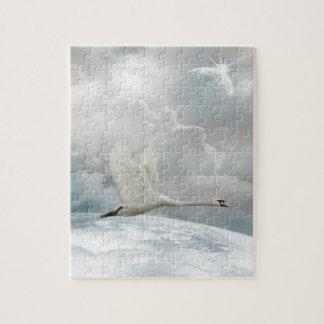 Elegant Swan in Flight Puzzle