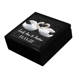 Elegant Swan Love Birds Damask Wedding Anniversary giftbox
