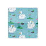 Elegant Swan Pattern Checkbook Cover