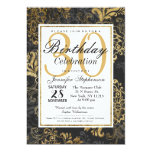 Elegant Swanky Faux Gold, Black, & Gray Floral Card