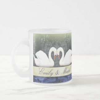 Elegant Swans in Love Frosted Glass Coffee Mug