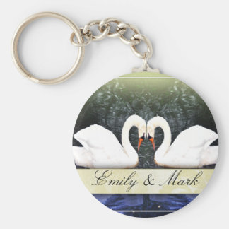 Elegant Swans in Love Keychain