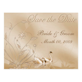 Elegant Swans Save the Date Postcards