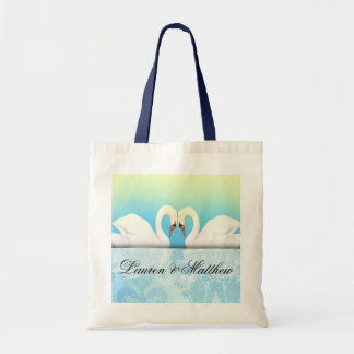 Elegant Swans with blue and green Bag