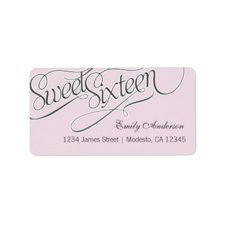 Elegant Sweet 16 Address Label in Pale Pink