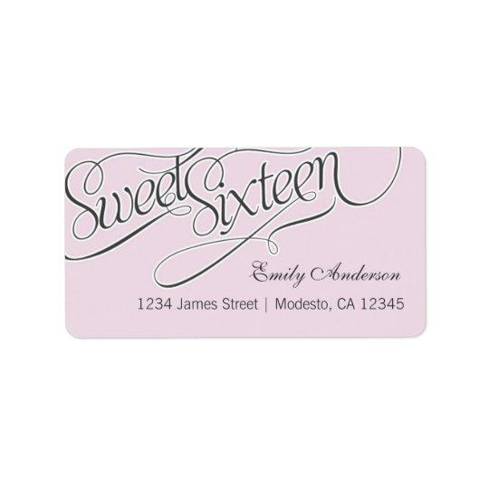 Elegant Sweet 16 Address Label in Pale Pink