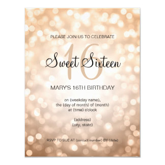 Elegant Sweet 16 Birthday Copper Glitter Lights Card