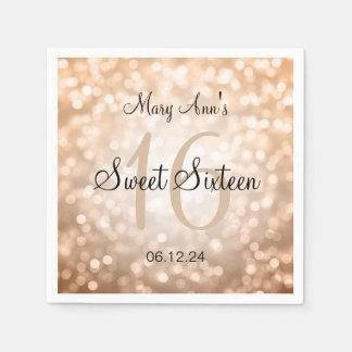 Elegant Sweet 16 Birthday Copper Glitter Lights Paper Napkin