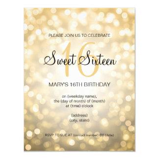 Elegant Sweet 16 Birthday Gold Glitter Lights 4.25x5.5 Paper Invitation Card