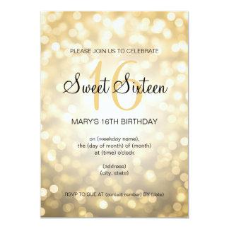 Elegant Sweet 16 Birthday Gold Glitter Lights Card
