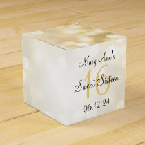 Elegant Sweet 16 Birthday Gold Glitter Lights Favor Box